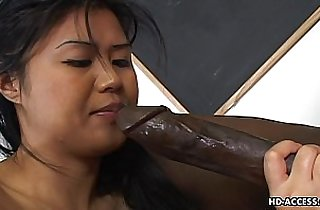Super hot Asian gets a big black cock in her cunt