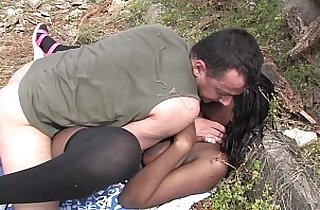 Bigtits black cock slut playing with big ass outdoor fucking