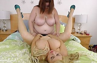 Busty BBWS Fuck Each Other with Strap