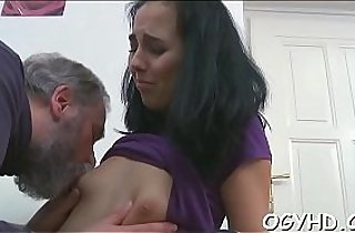 Cute young asian girl is fucked by old guy