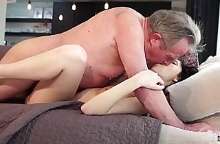 Old and Young Sweet girlfriend his ass fucked by grandpa