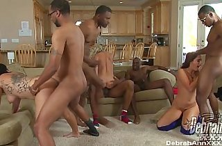 BBC gangbang for three horny whores