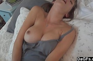 Busty horny wife excites her husband and sucks cock