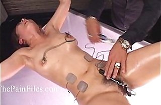 Japanese electro bdsm and extreme bondage of punished oriental slaveslut