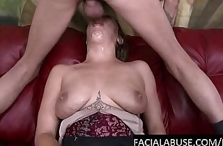 Facially abused cunt pukes on cock