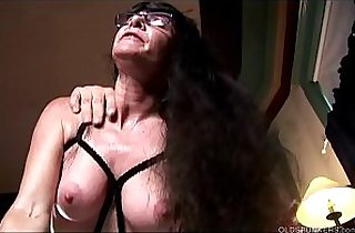 Horny old spunker in sexy black lingerie loves a sticky facial cumshot