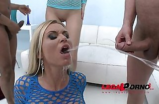 Piss drinking sluts Karina Grand Laura Crystal two horny party girls have sex orgy with guys and