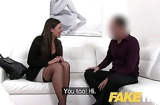 Fake Agent Smartly dressed brunette babe sucks and fucks casting agent on sofa