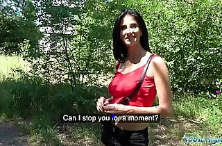 Public Agent Busty horny lady gets finger fucked in the woods for cash