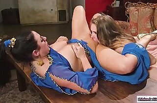 Lesbian couple on 3some with sexy busty genie