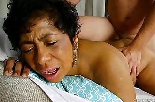 Beautiful busty black old spunker loves cum all over her nice tits