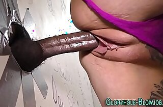 Tattoo ho rides big black rod
