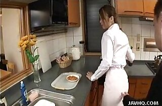 Japanese teen gets finger fucked in the kitchen Uncensored