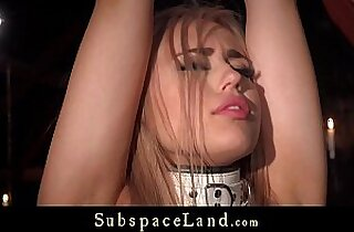 Bondage porn for busty slave performing oral sex under submission