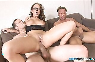 Dped babe in stockings gets fucked and facialized